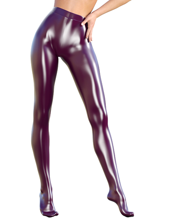 female legs: Sexy slim female legs in latex pantyhose.