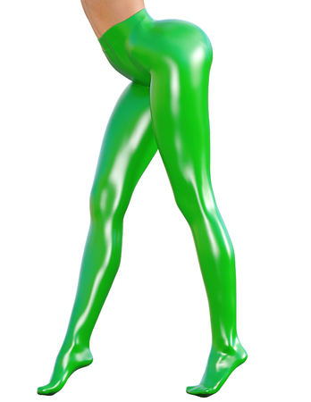 hot girl legs: Sexy slim female legs in latex pantyhose.