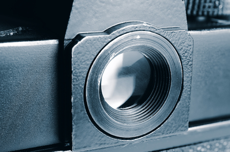 an eyepiece: Eyepiece old film camera. Stock Photo