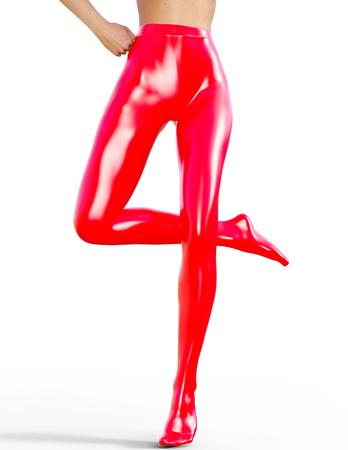 Sexy slim female legs in latex pantyhose.