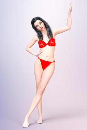 Girl in red underwear.