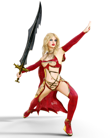 nude young: Girl in red warrior dress with sword.