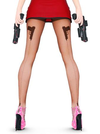 Dark nylon tights with guns, bullets and trajectory line. Short skirt. Female domination. Sexy slim female legs in dark pantyhose. Seductive pose. Conceptual fashion art. 3D render illustration. Stock Photo