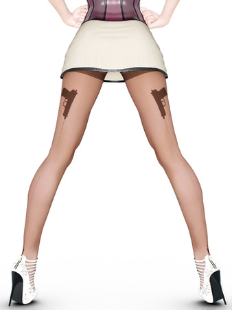 seductive: Dark nylon tights with guns, bullets and trajectory line. Short skirt. Female domination. Sexy slim female legs in dark pantyhose. Seductive pose. Conceptual fashion art. 3D render illustration. Stock Photo