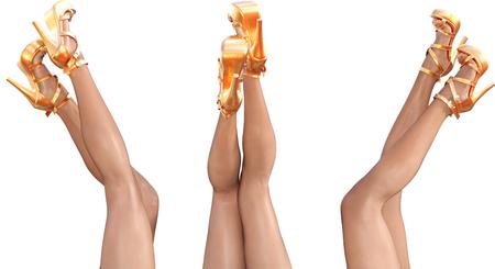 hot girl legs: Set beautiful female legs in sandals high heels.
