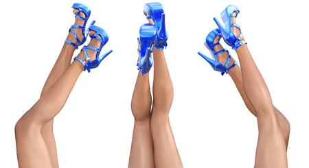 female legs: Set beautiful female legs in sandals high heels.