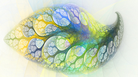 microcosm: Magical tree leaf round holes. Colored swirls. 3D surreal illustration. Sacred geometry. Mysterious psychedelic relaxation pattern. Fractal abstract texture. Digital artwork graphic astrology magic Stock Photo