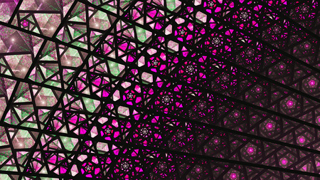 Stained glass windows. Colored Glass. Shards. Fragments. 3D surreal illustration. Sacred geometry. Mysterious psychedelic relaxation pattern. Fractal abstract texture. Digital artwork graphic magic