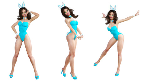 Set Bunny Girl. Sexy woman long legs. Blue swimsuit shoes. Playboy. Conceptual fashion art. Blue eyes. Seductive candid pose. Photorealistic 3D render illustration. Isolate. Studio, high key.