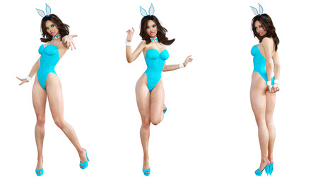 seductive woman: Set Bunny Girl. Sexy woman long legs. Blue swimsuit shoes. Playboy. Conceptual fashion art. Blue eyes. Seductive candid pose. Photorealistic 3D render illustration. Isolate. Studio, high key.