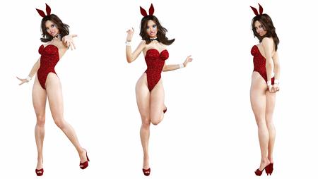 バニーガールを設定します。長い足のセクシーな女性。赤い水着の靴。プレイボーイ。概念的なファッション アート。青い目。魅惑的な率直なポー