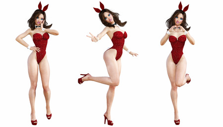 seductive woman: Set Bunny Girl. Sexy woman long legs. Red swimsuit shoes. Playboy. Conceptual fashion art. Blue eyes. Seductive candid pose. Photorealistic 3D render illustration. Isolate. Studio, high key.