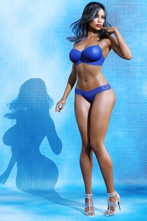 women body: High mulatto girl in lingerie. Bra and panties. Conceptual fashion art. Blue eyes. Seductive candid pose. Photorealistic 3D render illustration. Studio, high key.