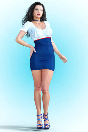 render: Woman front large mirror. Short light skirt and blouse. Conceptual fashion art. Long dark hair. Seductive candid pose. Photorealistic 3D render illustration. Studio, high key.
