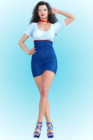 Woman front large mirror. Short light skirt and blouse. Conceptual fashion art. Long dark hair. Seductive candid pose. Photorealistic 3D render illustration. Studio, high key.