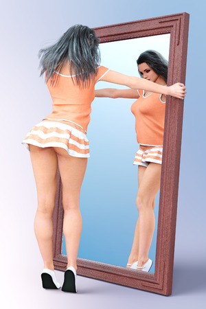 Woman front large mirror. Short light skirt and blouse. Conceptual fashion art. Long dark hair. Seductive candid pose. Photorealistic 3D render illustration. Studio, high key.