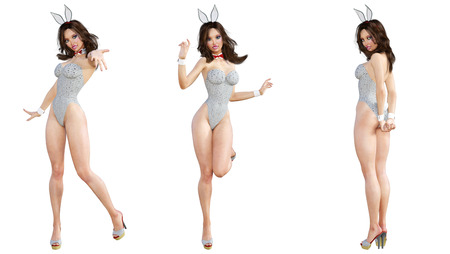 Set Bunny Girl. Sexy woman long legs. Gray swimsuit and shoes. Conceptual fashion art. Blue eyes. Seductive candid pose. Photorealistic 3D render illustration. Isolate. Studio, high key.