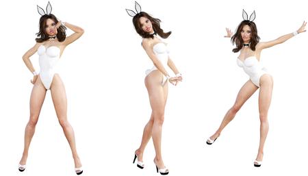 lapin sexy: Set Bunny Girl. longues jambes de femme sexy. maillot de bain et chaussures blanc. art conceptuel de la mode. Yeux bleus. pose franche Seductive. Photoréaliste 3D render illustration. Isoler. Studio, high key.