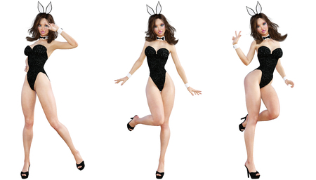 Set Bunny Girl. Sexy woman long legs. Black swimsuit and shoes. Conceptual fashion art. Blue eyes. Seductive candid pose. Photorealistic 3D render illustration. Isolate. Studio, high key. Stock Photo