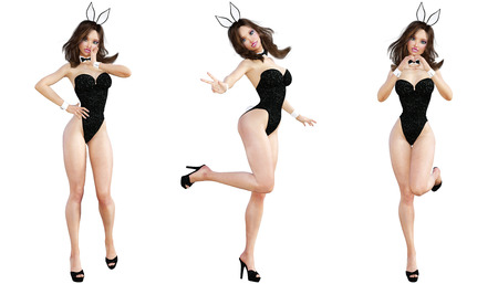 hot girl legs: Set Bunny Girl. Sexy woman long legs. Black swimsuit and shoes. Conceptual fashion art. Blue eyes. Seductive candid pose. Photorealistic 3D render illustration. Isolate. Studio, high key. Stock Photo