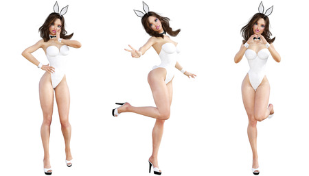 Set Bunny Girl. Sexy woman long legs. White swimsuit and shoes. Conceptual fashion art. Blue eyes. Seductive candid pose. Photorealistic 3D render illustration. Isolate. Studio, high key.