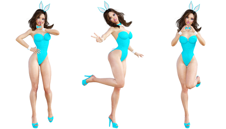 Set Bunny Girl. Sexy woman long legs. Blue swimsuit and shoes. Conceptual fashion art. Blue eyes. Seductive candid pose. Photorealistic 3D render illustration. Isolate. Studio, high key. Stock Photo