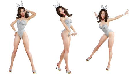 lapin sexy: Set Bunny Girl. Des longues jambes sexy. Maillot de bain gris et chaussures. Art de la mode conceptuelle. Yeux bleus. Pose candide séduisante. Illustration de rendu 3D photoréalistique. Isoler. Studio, clé haute.