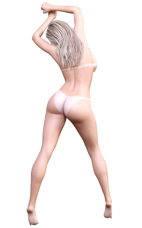 nude fashion model: Nude blonde woman studio. View from back. White traces sun tanning. Conceptual naked fashion art. Seductive candid pose. Photorealistic 3D render illustration. Isolate. Studio, high key. Stock Photo