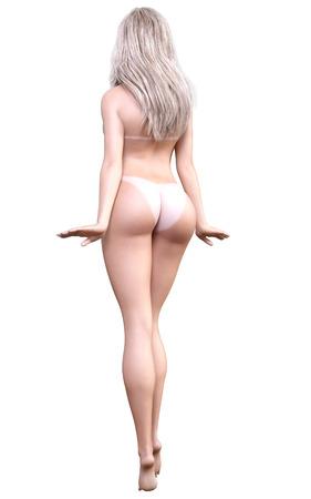 mujer rubia desnuda: Desnudo estudio de la mujer rubia. Vista desde atrás. Blanco traza de bronceado sol. arte de la moda desnuda conceptual. sincero plantean seductora. Fotorrealista 3D ilustración de procesamiento. Aislar. Estudio, clave de alta.