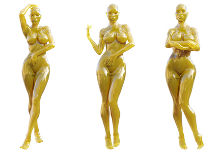 Statuette woman made of glass. Gem. Conceptual fashion art. Seductive candid pose. Photorealistic 3D render illustration. Isolate Stock Photo