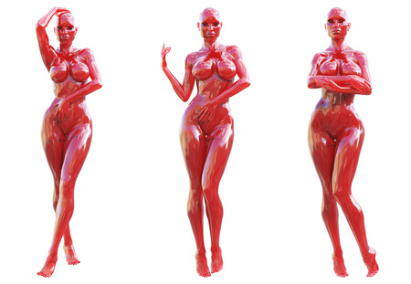 Statuette woman made of glass. Gem. Conceptual fashion art. Seductive candid pose. Photorealistic 3D render illustration. Isolate Imagens