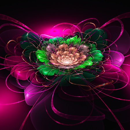 Fairy flower. Lily. 3D surreal illustration. Sacred geometry. Mysterious psychedelic relaxation pattern. Fractal abstract texture. Digital artwork graphic astrology magic Stock Photo