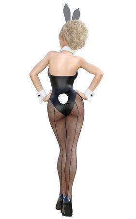 lapin sexy: Fille déguisée en lapin. Jupes sexy et longues dans des collants de filets noirs. Maillot de bain noir et chaussures. L'art conceptuel de la mode. Yeux verts. Pose séduisante et candide. Illustration de rendu 3D photoréalistique. Isoler. Studio. Banque d'images