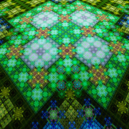 East carpet. Pattern on fabric. Tapestry. 3D surreal illustration. Sacred geometry. Mysterious psychedelic relaxation pattern. Fractal abstract texture. Digital artwork graphic astrology magic Stock Photo