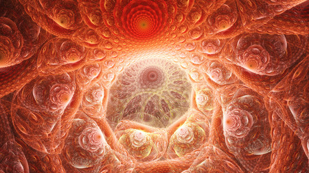 Entrance to cave alien monster. Birth of universe.3D surreal illustration. Sacred geometry. Mysterious psychedelic relaxation pattern.Fractal abstract texture. Digital artwork graphic astrology magic Stock Photo