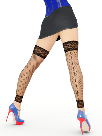 Long slender sexy legs woman. Short skirt. Black stockings mesh. High heels. Provocative liberated pose. 3D rendering. Isolate. Conceptual fashion art.