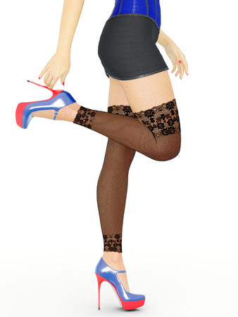 hot girl legs: Long slender sexy legs woman. Short skirt. Black stockings mesh. High heels. Provocative liberated pose. 3D rendering. Isolate. Conceptual fashion art.