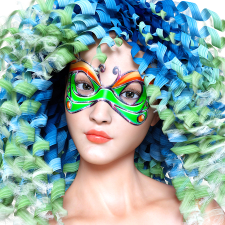 3D woman portrait in mask and bright makeup. Long curly hair. Carnival. Conceptual fashion art. Photorealistic render illustration. Stock Photo