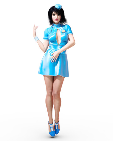 High beautiful woman flirtatious stewardess. Short blue dress. Conceptual fashion art. Green eyes. Seductive candid pose. Photorealistic 3D render illustration. Studio, high key.