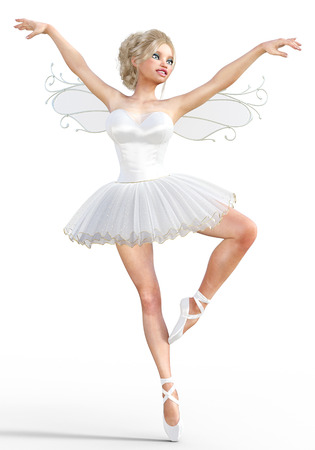 3D ballerina with wings. Forest Fairy. Butterfly. White ballet tutu. Blonde girl with blue eyes. Ballet dancer. Studio photography. High key. Conceptual fashion art. Render illustration.