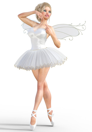 computer art: 3D ballerina with wings. Forest Fairy. Butterfly. White ballet tutu. Blonde girl with blue eyes. Ballet dancer. Studio photography. High key. Conceptual fashion art. Render illustration.
