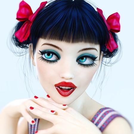 Portrait of a beautiful girl. Bow dark hair. Romantic woman. Conceptual fashion art. Photorealistic render illustration.