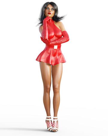 빨간 가죽 드레스에 여자입니다. 짧은 치마. 밝은 메이크업. 개념적 패션 예술입니다. 파란 눈. 매혹적인 솔직한 포즈. 현실적인 3D 렌더링 그림입니다.