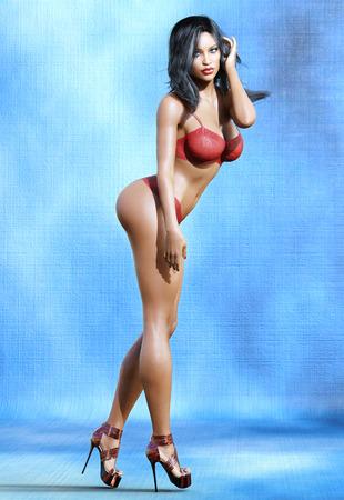 Tall mulatto woman in lingerie. Fashion model. Bra and panties. Conceptual fashion art. Blue eyes. Dark hair. Seductive candid pose. Realistic 3D render illustration. Studio, high key.