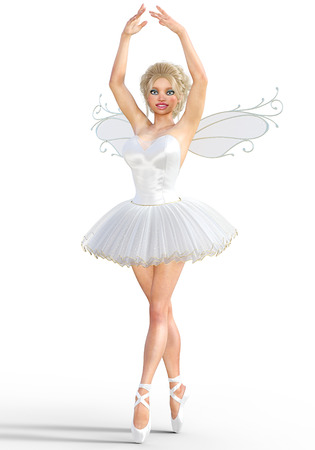 women s clothes: 3D ballerina with wings. Forest Fairy. Butterfly. White ballet tutu. Blonde girl with blue eyes. Ballet dancer. Studio photography. High key. Conceptual fashion art. Render illustration.