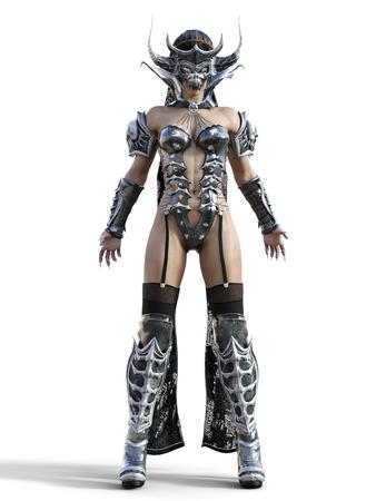 사악한 마술 마스크 뿔. 고딕 전사 여자입니다. 마법 방어구. 근육질 운동기구. 현실적인 3D 렌더링 그림을 격리합니다. 안녕 키.