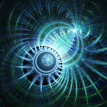 Magnetfeld. Sphärische Strahlung Kosmische Welt. 3D surreale Abbildung. Heilige Geometrie. Geheimnisvolles psychedelisches Relaxationsmuster Fraktale abstrakte Textur. Digitale Grafik Grafik Astrologie Magie Standard-Bild