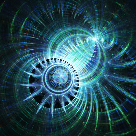 Magnetic field. Spherical radiation. Cosmic world. 3D surreal illustration. Sacred geometry. Mysterious psychedelic relaxation pattern. Fractal abstract texture.Digital artwork graphic astrology magic