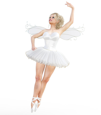 hot girl legs: 3D ballerina with wings. Forest Fairy. Butterfly. White ballet tutu. Blonde girl with blue eyes. Ballet dancer. Studio photography. High key. Conceptual fashion art. Render illustration.