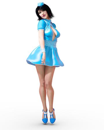 Lange mooie vrouw flirterige stewardess. Korte blauwe jurk. Groene ogen. Conceptuele mode kunst. Verleidelijke openhartige houding. Realistische 3D render illustratie. Studio, hoge sleutel. Stockfoto - 85184294